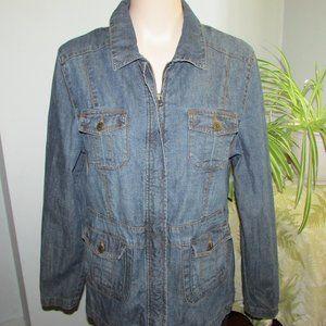 Denver Hayes Ladies Zippered  Denim Jean Jacket LG